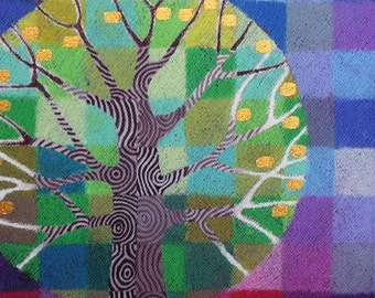 Tiny Test Pattern Tree 1 print, with handpainted details