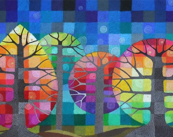 LARGE Backyard with Fireflies I art print, rainbow geometric trees with handpainted details