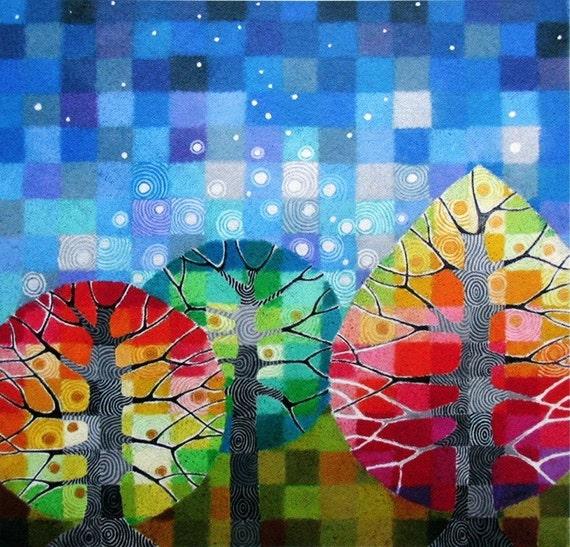 Backyard with Stars tiny art print, autumn trees, colourful geometric art, starry night
