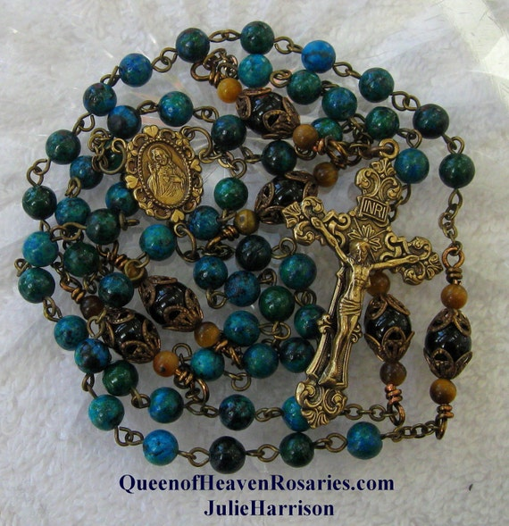 Sacred Heart Rosary Antique Brass