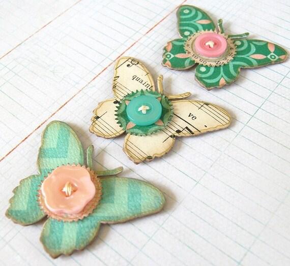 Large chipboard butterflies aqua