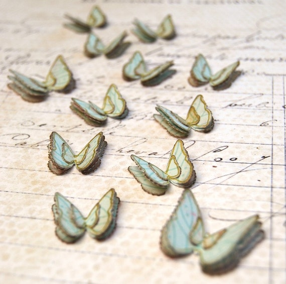 Butterflies Fluttering (Small and Large) Blue Handmade Embellishments