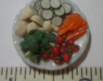 vegetable deli tray, 1/12th scale, with carrot sticks, broccoli, mushrooms, cucumbers, and cherry tomatoes