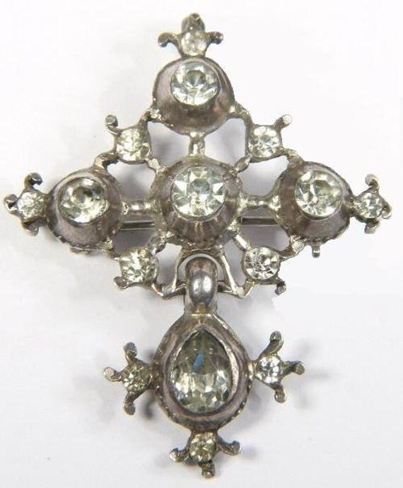 Georgian Sterling Articulated Paste Drop Cross Brooch/Pendant