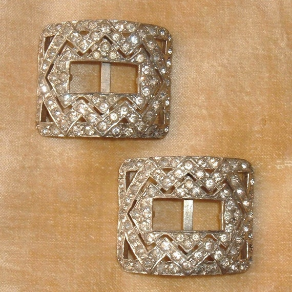 SALE-Art Deco Edwardian Pot Metal Paste Shoe Buckles