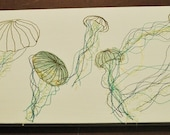 Jellyfish Embroidered art on canvas