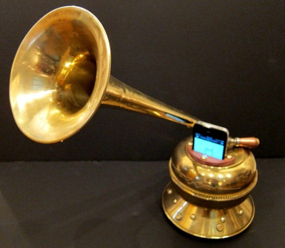 Steampunk Iphone Victrola with tone control valve