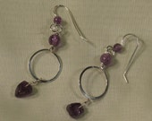 Sterling Rings Earrings with Natural Amethyst Beads