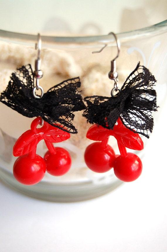 Cherry Queen Lace Dangle Earrings