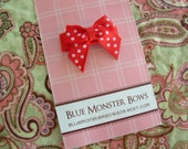 ONE DOLLAR CLIP Red with White Swiss Dots Mini Baby Bow Snap Clip