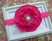Baby Headband Grace Bright Pink Flower With Pearl Button Center on a Stretchy Headband