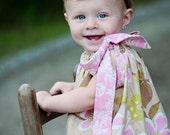 Baby Headband Tan Shabby Chic Chiffon Flower and Stretchy Headband