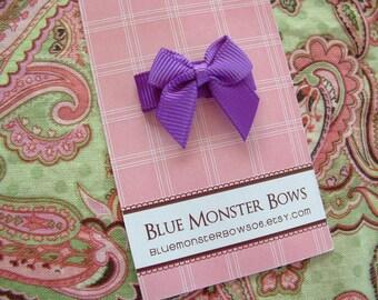 ONE DOLLAR CLIP Purple Mini Baby Bow Snap Clip No Slip