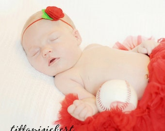Infant Headband Rebecca Red Felt Rose and Skinny Headband