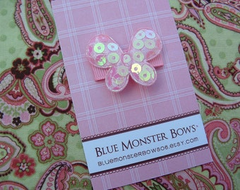 ONE DOLLAR CLIP Pink Glitter Butterfly Baby Snap Clip