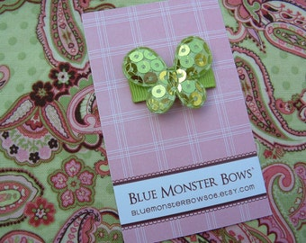 ONE DOLLAR CLIP Green Glitter Butterfly Baby Snap Clip
