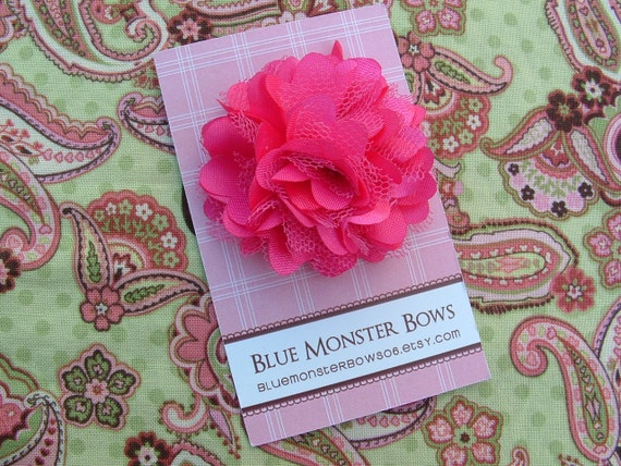 Petite Megan Hot Pink Satin and Tulle Flower Hair Clip