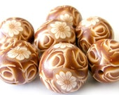 Polymer Clay Beads with Chocolate Roses and White Flowers - Set of 7