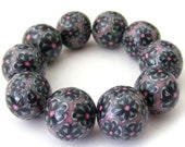 Polymer Clay Beads with Pearl and Metallic Black Flowers - Set of 10