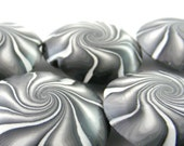 Polymer Clay Beads Swirl Lentil Beads Polymer Clay in Black And White  - Set of 5 (B)