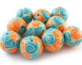 Polymer Clay Beads with Cyan and Orange Roses - Set of 10