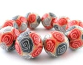 Polymer Clay Beads with Red And Silver Roses - Set of 10