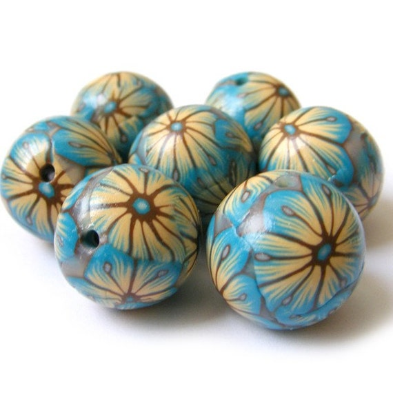 Polymer Clay Beads With Turquoise and Ecru Flames Flowers - Set of 7