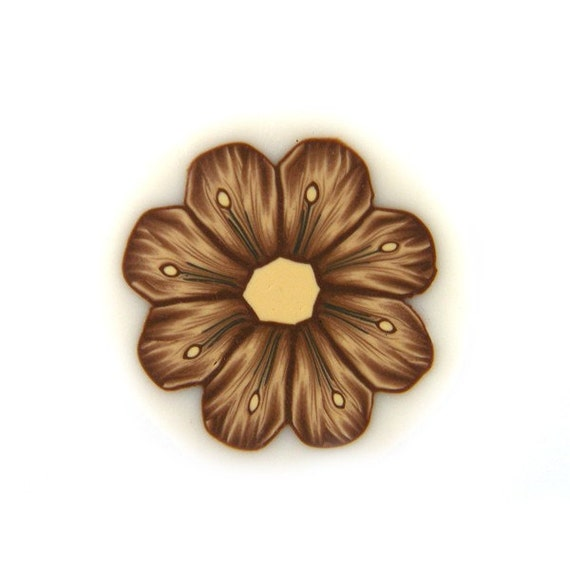 Polymer Clay Cane Millefiori Shades of Brown Flower