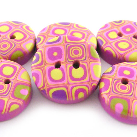 Retro Buttons Polymer Clay Buttons with Retro Pattern in Pink and Wassabi Green - Set of 6