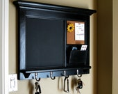 Home Decor Wall Mail Organizer Storage Cork Board Office Decor Chalkboard Furniture Storage Framed Key Hook Message Center Shelf