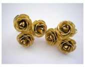Vintage art deco style gold tone metal rose flower clips from 80s