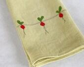 Linen Tea Towel, Hand Appliqued, Beets on Chardonnay Green