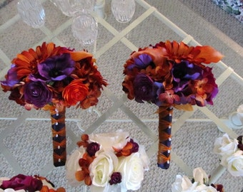 Rust and purple bridesmaids wedding bouquets with roses, calla lillies, sunflowers and hydrangeas