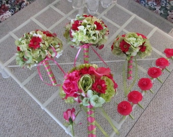 Hot pink and lime green silk wedding bouquet package with calla lillies, roses, peonies and ranunculus, bridal bouquet