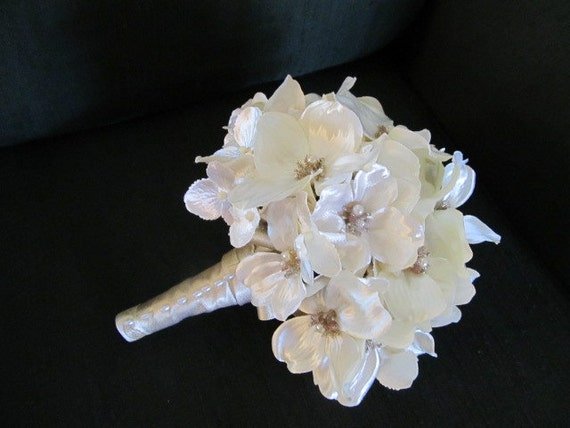 Ivory jeweled glimmery bridal bouquet in dogwood and hydrangea blooms