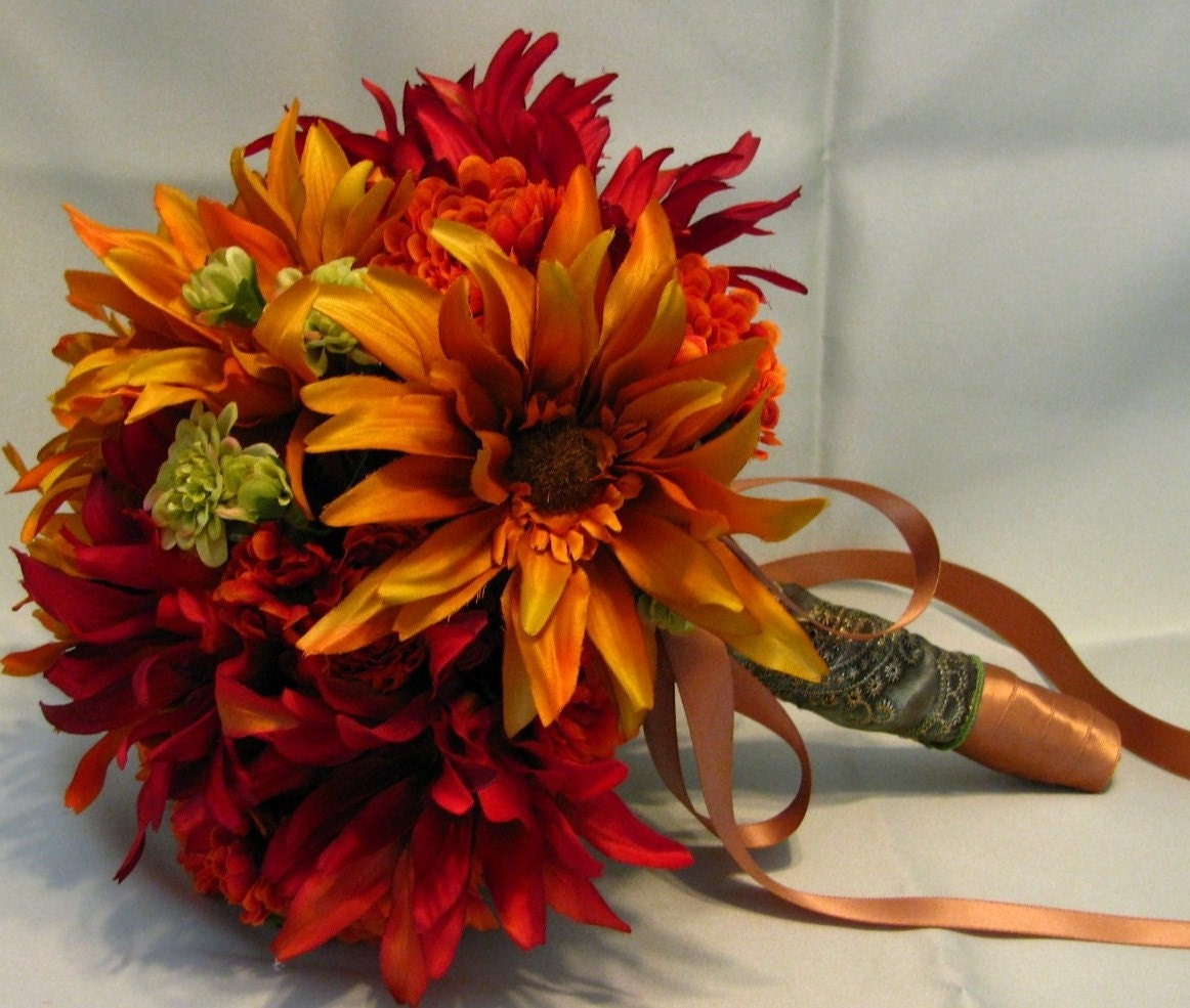 Making A Wedding Bouquet With Silk Flowers: Fall Silk Wedding Bouquet In Rust And Burnt Yellow Bridal