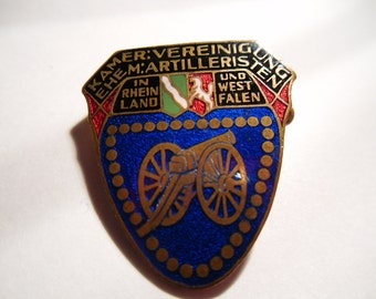 REDUCED. Imperial Germany Beautiful Enameled Artillery Military Medal / Badge / Pin / Award. 1930s