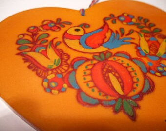 "1930s Bakelite Heart Folk Art Ornament. Eastern Europe. Large 4"" by 4"""