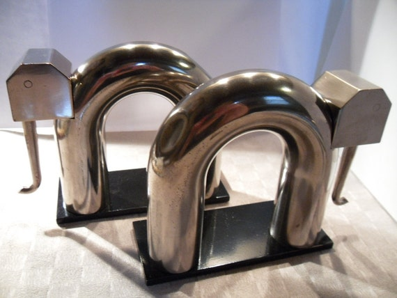 Walter Von Nessen Elephant Bookends. Machine Age. Chase Brass & Copper Co. 1930s.