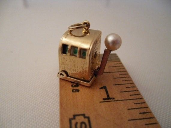 Tiny Slot Machine Charm. Gold Filled with Movable Handle. Vintage 1970s.