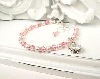 Pink Baby Bracelet - Baby Girl Bracelet - Princess Bracelet - Little Girl Jewelry - Small Beaded Bracelet - Newborn Infant Baby Bracelet