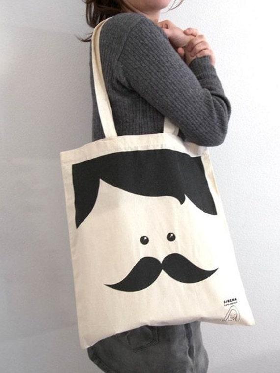 Mr. Moustache tote bag