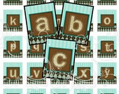 COCOA TEAL alphabet and more digital collage sheet scrabble tiles