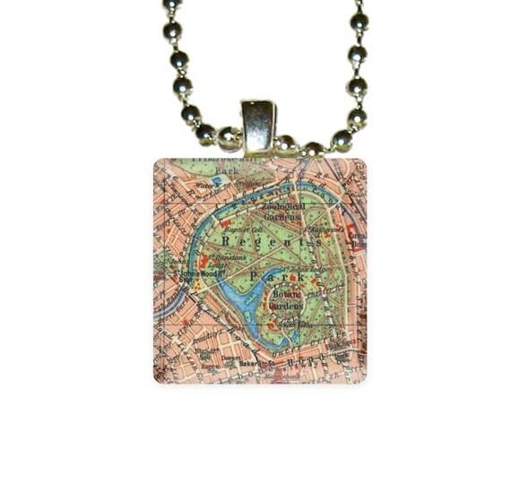 LONDON MAP Regents Park scrabble tile pendant by Laurie's Boutique P025