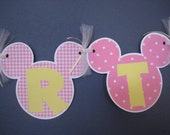 Pink and Pale Yellow Minnie Mouse Birthday Banner