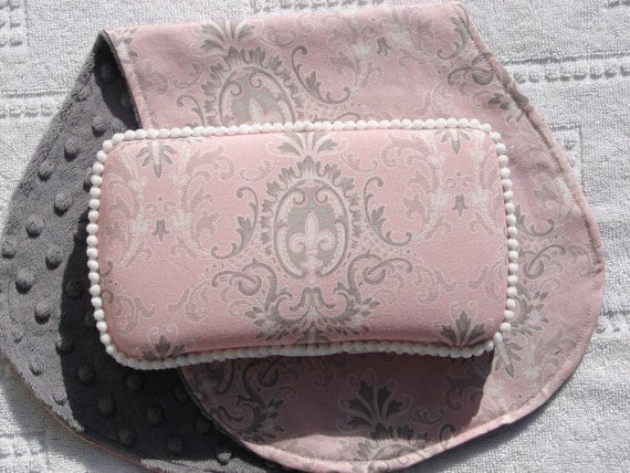 LAST Set-The Couture Mama Travel Diaper Wipe Case and Burp Cloth Set in Puttin on the Ritz- baby girl