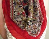 royal red silk scarf