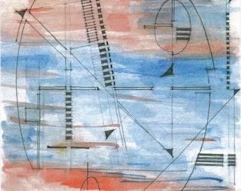 "abstract, modern, contemporary, fine art, print of original drawing ""sailing"""
