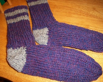Sale Handmade Knit Pure Wool Mens Socks Size 7/8