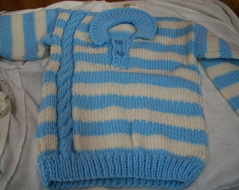 Blue and White Stripped Sweater Size 4 to 5